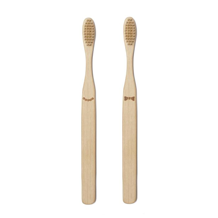 Kikkerland His and Her Bamboo Toothbrush Set