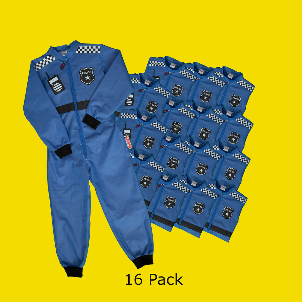 Party Pack of 16 Police Officer Coveralls