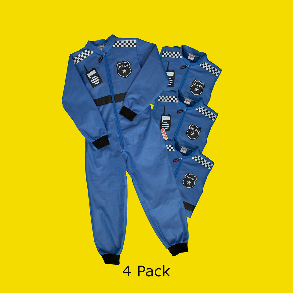 Party Pack of 4 Police Officer Coveralls