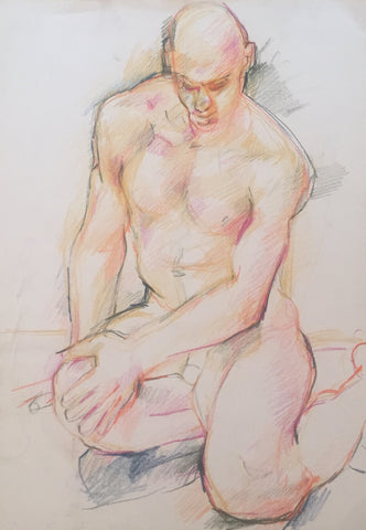 Male Nude Seated on Ground