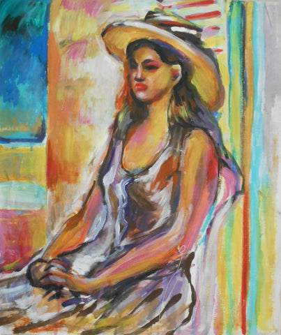 Seated Model with Hat
