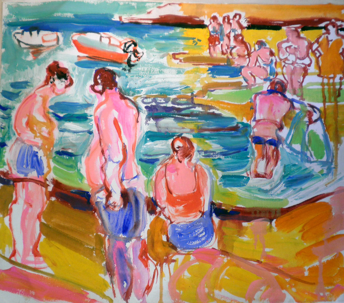 Bathers- Serene scene at the Beach
