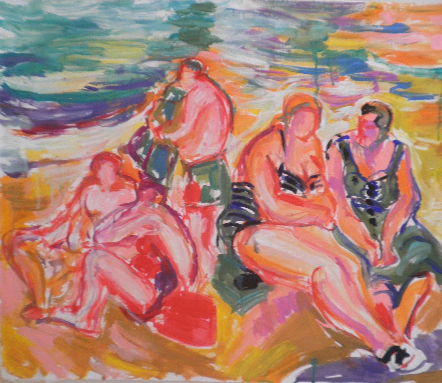 Bathers Confiding in Deep Conversations