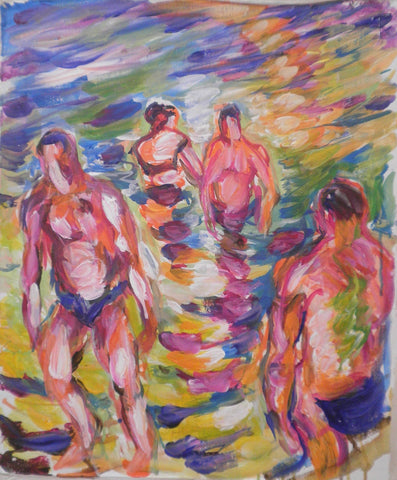 Bathers Coming Out of Water Before Sunset