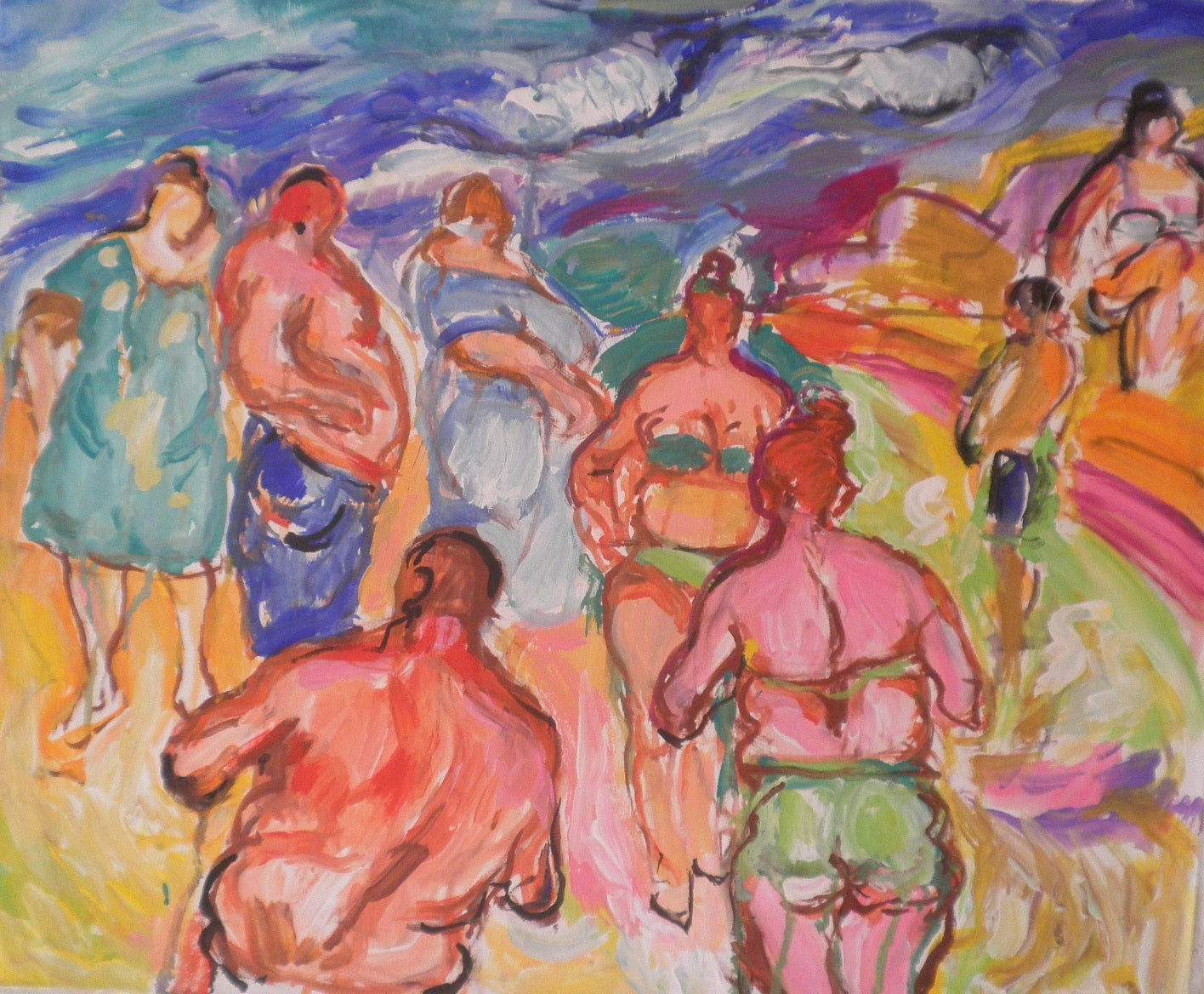 Bathers Deciding Whether to enter the Sea