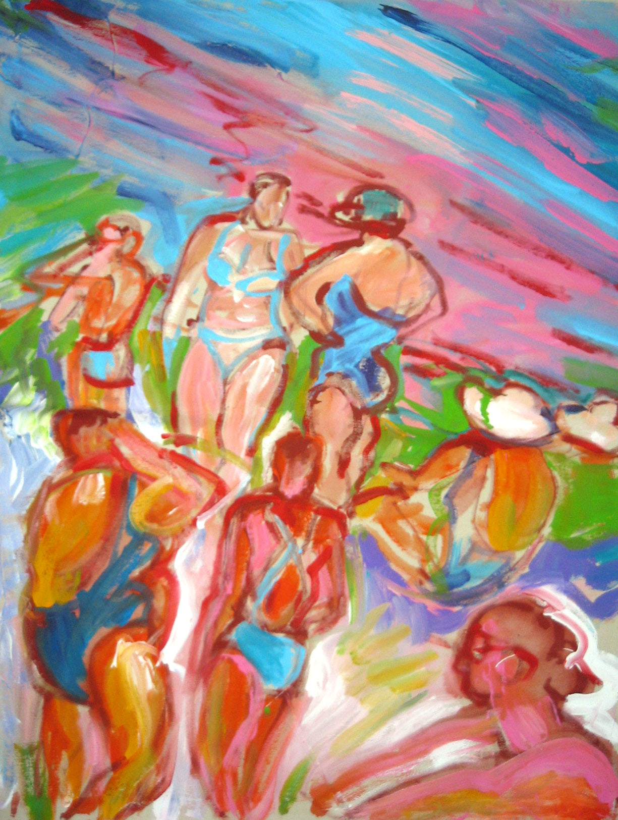 Bathers- Pink and Blue