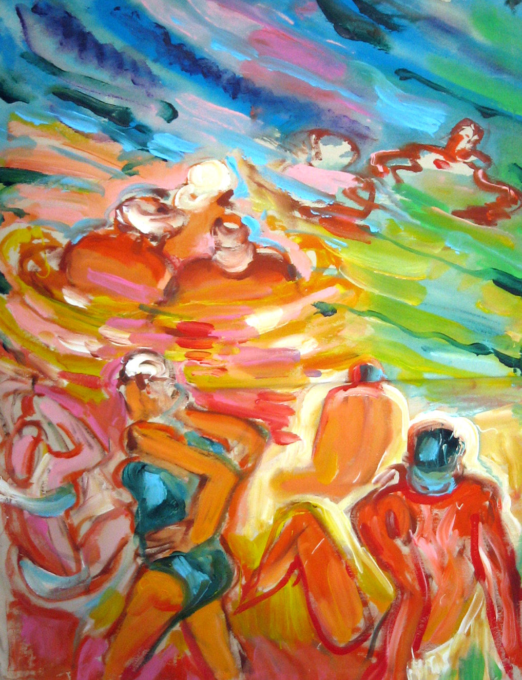 Colourful Bathers and Sea Scene