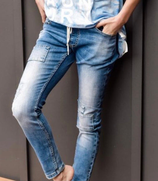 Style Laundry Distressed Blue Denim Jean