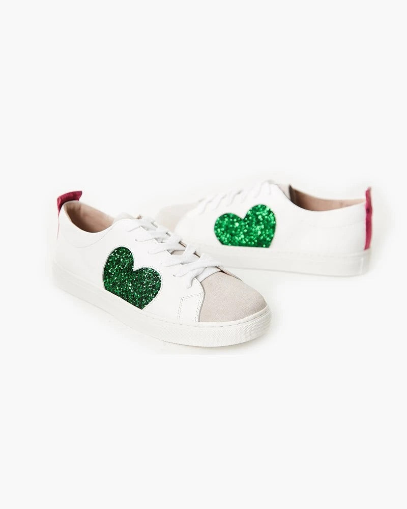 Heart Leather Sneaker- Green Glitter