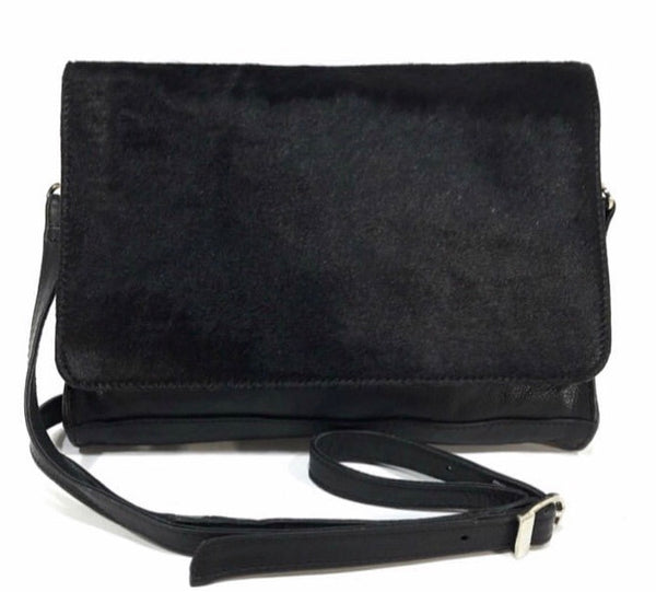 Kari Black Cowhide Sling Bag
