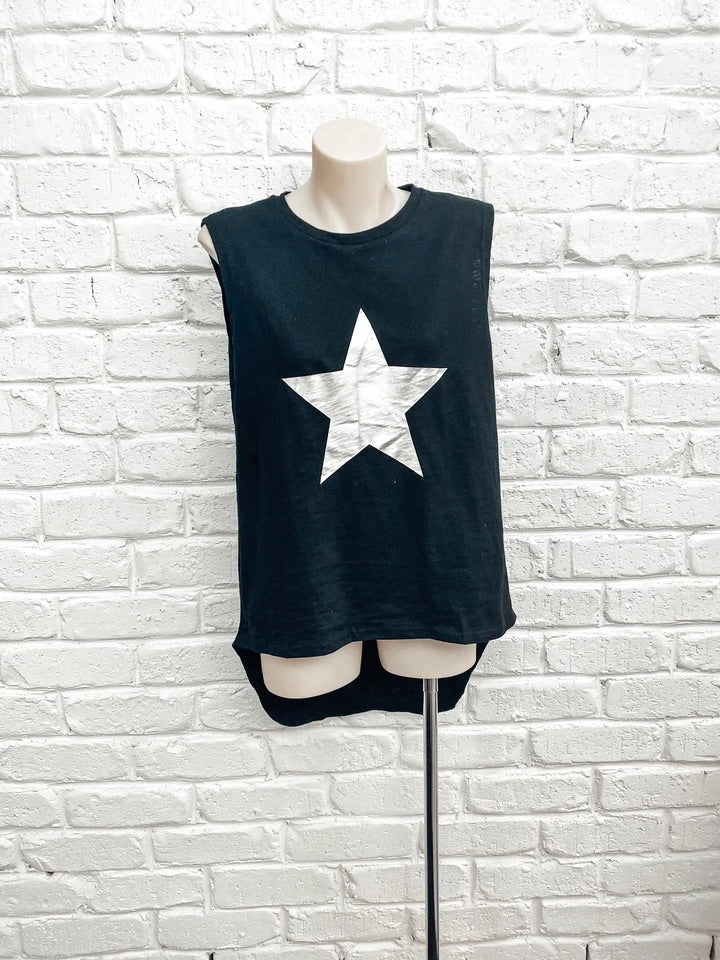 You're a Star Tank- Black with Silver Star