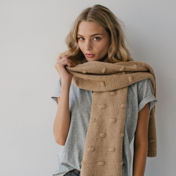 Bobble Knit Scarf- Wheat
