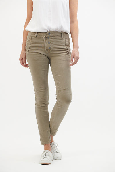 Italian Star Button Beige Jean