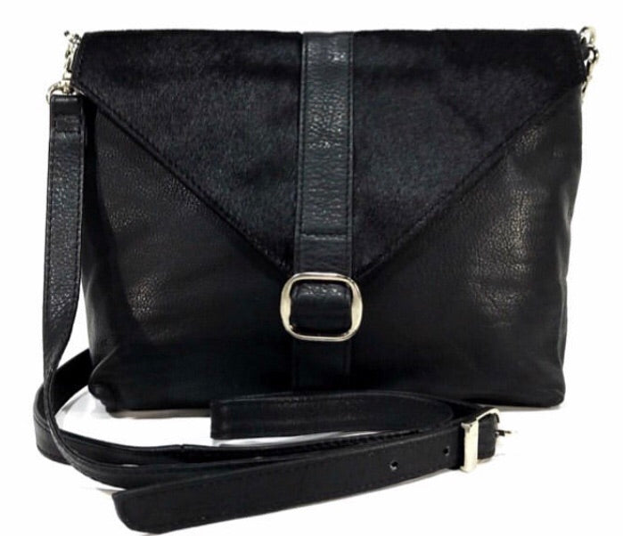 Mila Black Cowhide Sling Bag