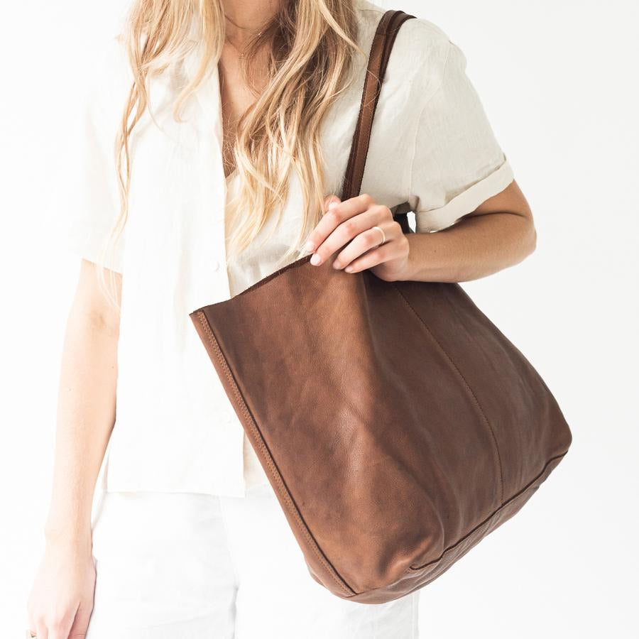 Unlined Leather Tote-Cognac