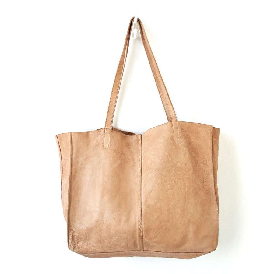 JuJu and Co Unlined Leather Tote-Natural