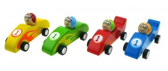 Wooden Pull Back Racing Cars