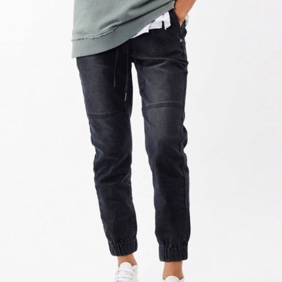 Jac+Mooki Black Wash Denim Joggers