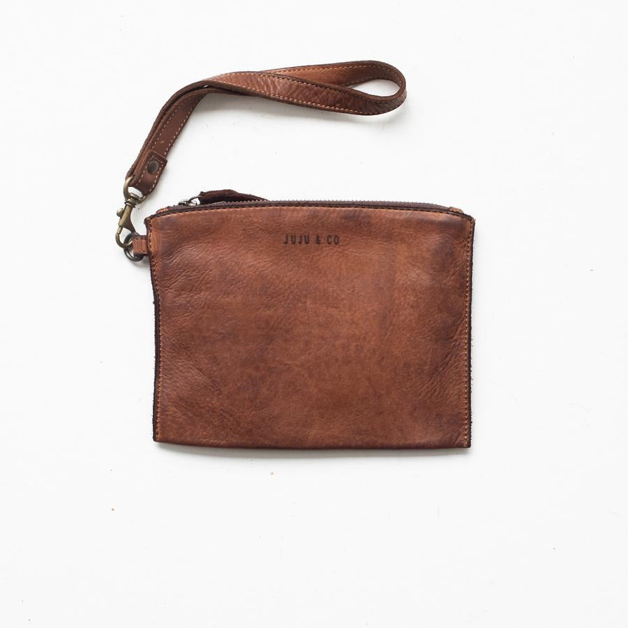 Small Flat Pouch-Cognac