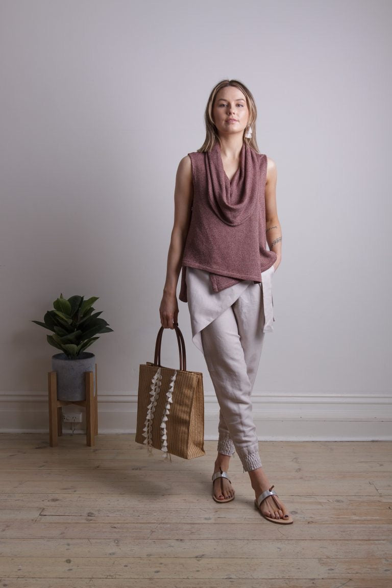 Huntress Beige Mock Wrap Pant