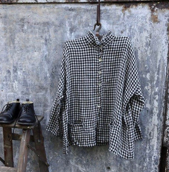 Pieta Shirt-Black and White Gingham