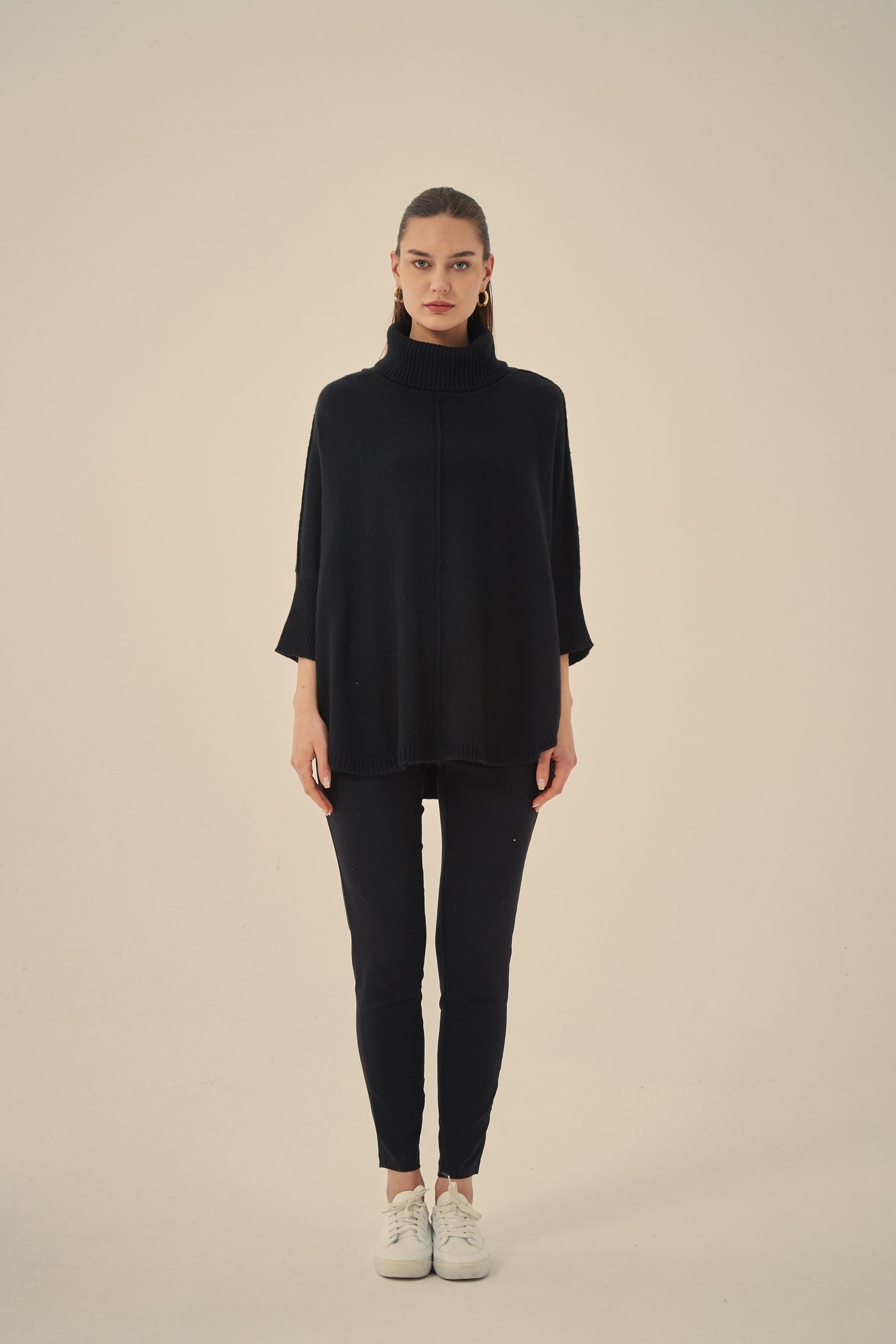 Half Sleeve Cotton Knit- Black