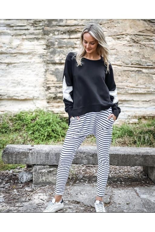 Stella Jogger-Black w' white stripe