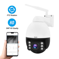 5MP PTZ Camera 4X Zoom Wireless Built-in Two Way Audio Home Security IP Camera Support SD Card Slot for Indoor Outdoor Surveillance