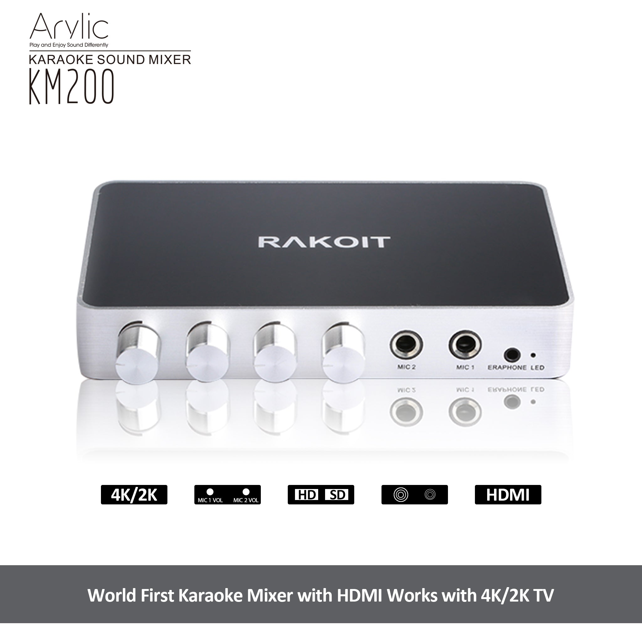 HDMI karaoke mixer support 4k and 2k tv