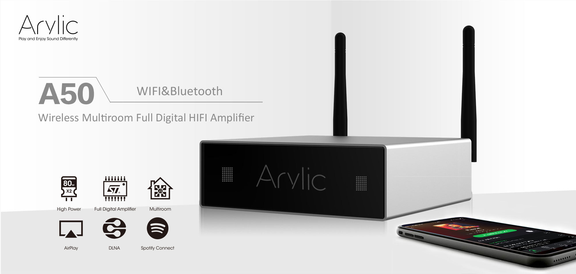 Arylic A50 WiFi & Bluetooth MultiRoom/Multizone Full Digital HiFi Stereo  Amplifier with Spotify,Airplay,DLNA and Free iOS&Android App