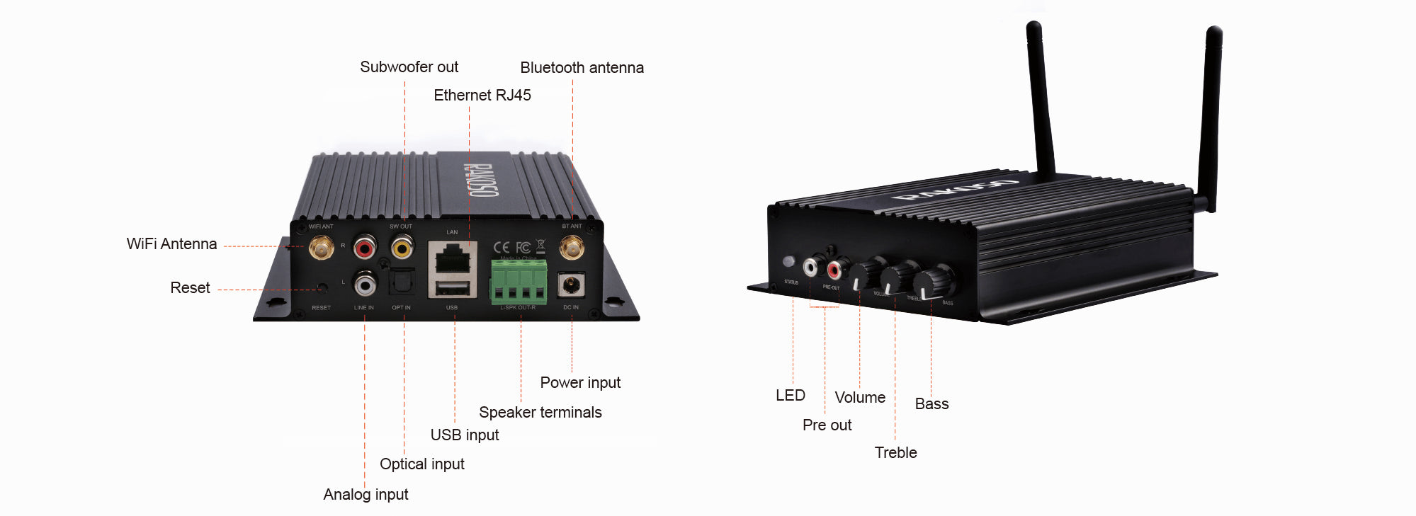 wifi&bluetooth audio amplifier for home or stereo
