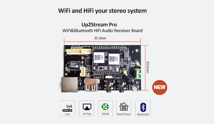 Up2stream Pro WiFi&Bluetooth Audio receiver board