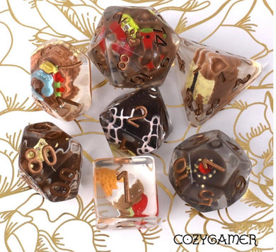 Chocolate Pastry Dice Set. 7 Piece large dice set with miniature pastries inside (CozyGamer)