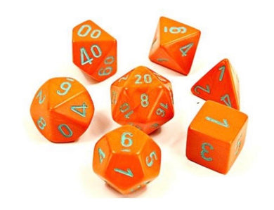 Chessex Heavy Dice Orange/Turquoise (8 piece polyhedral set) - Pre order