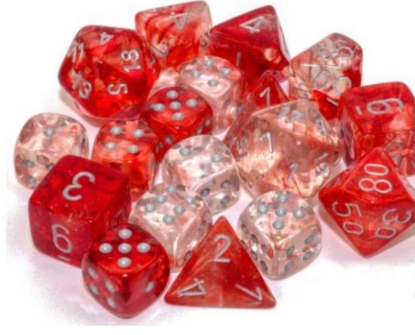 Chessex Nebula Red/silver Luminary 7 piece set - pre order