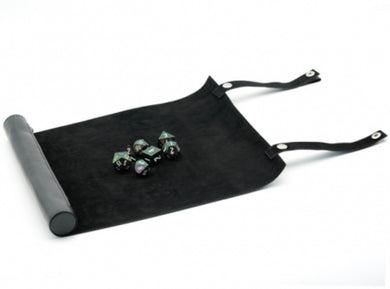 Faux leather dice scroll (black) with free Pearl dice set