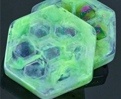 Green resin dice box with free Pearl dice set