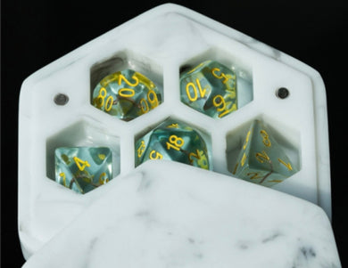 White resin dice box with free Pearl dice set