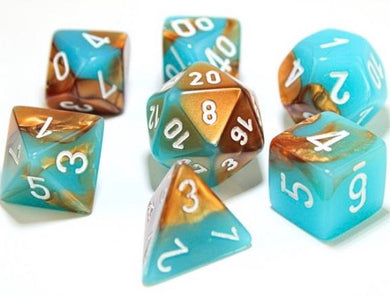 Chessex Gemini Copper - Turquoise/white