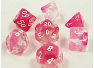 Chessex Gemini Clear Pink Luminary (8 piece polyhedral set)
