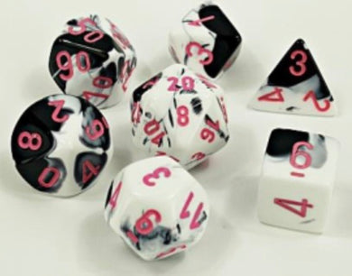 Chessex Gemini Black- White/pink (8 piece polyhedral set) - pre order