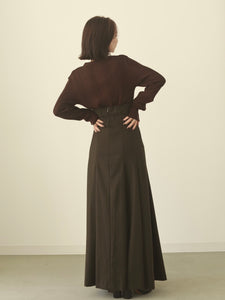 pleats flare long skirt