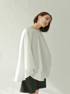 flare sleeve cotton gather blouse