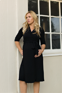 Woman wearing sophisticated black dress