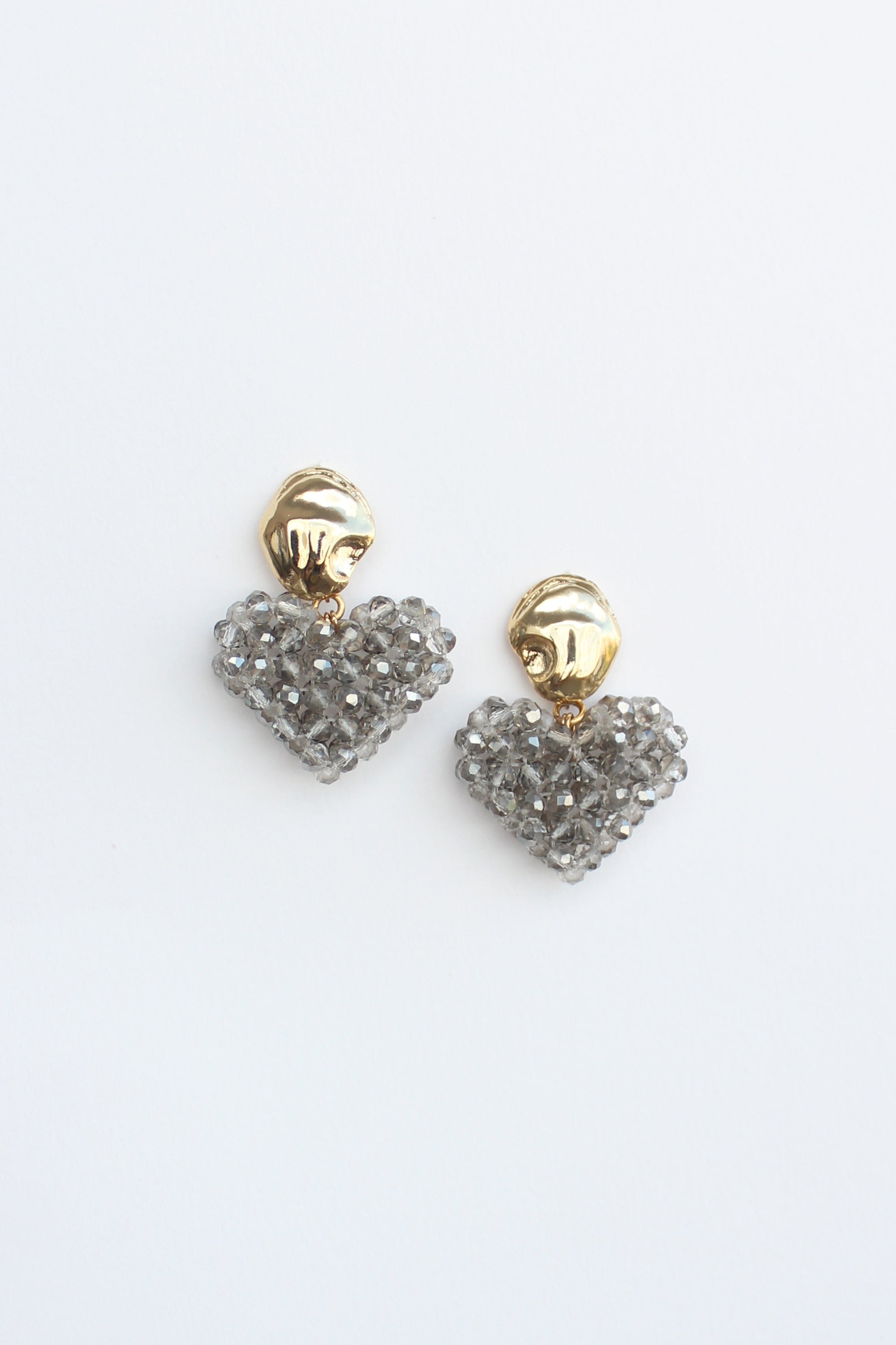 Heart Earrings in Grey