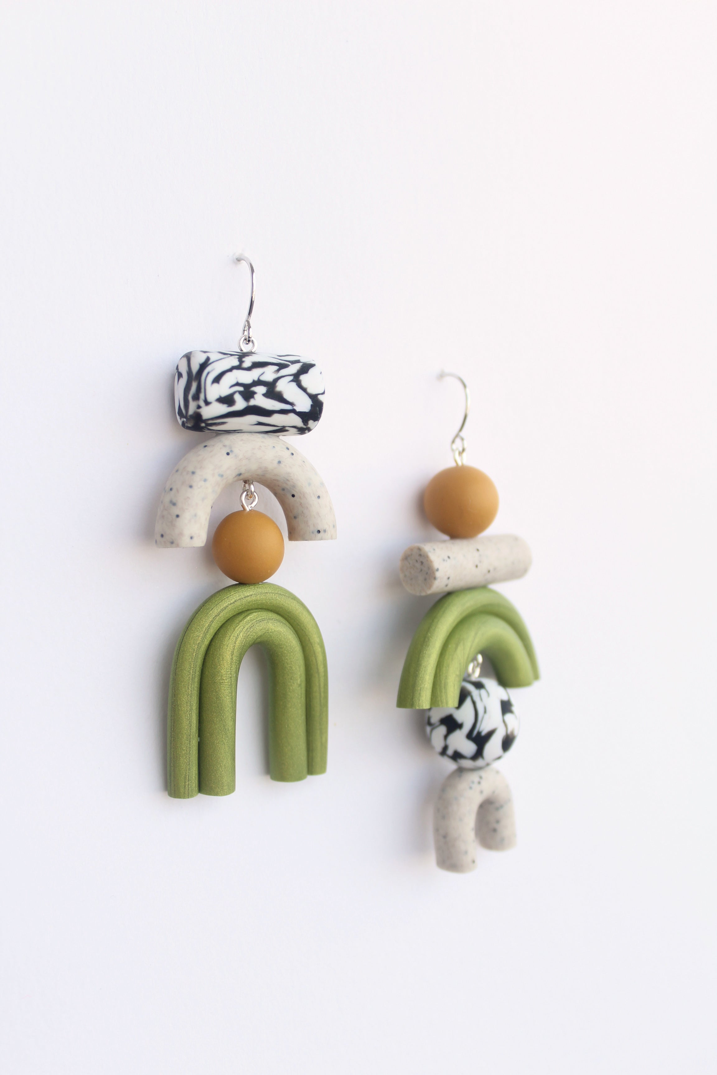 Tsunja polymer clay earrings, Bowie earrings in green with silver hook