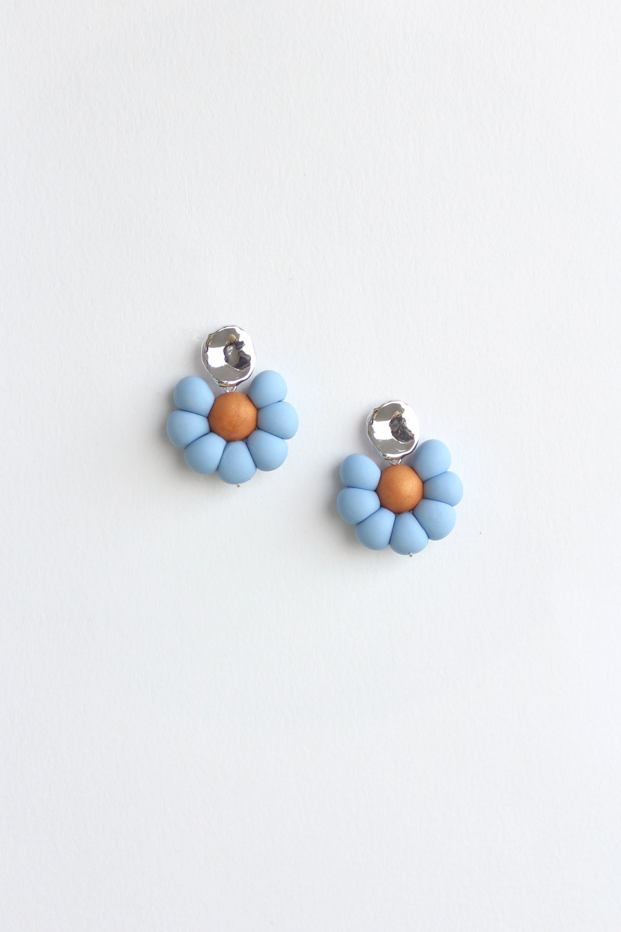 Flower Earrings in Sky Blue & Orange