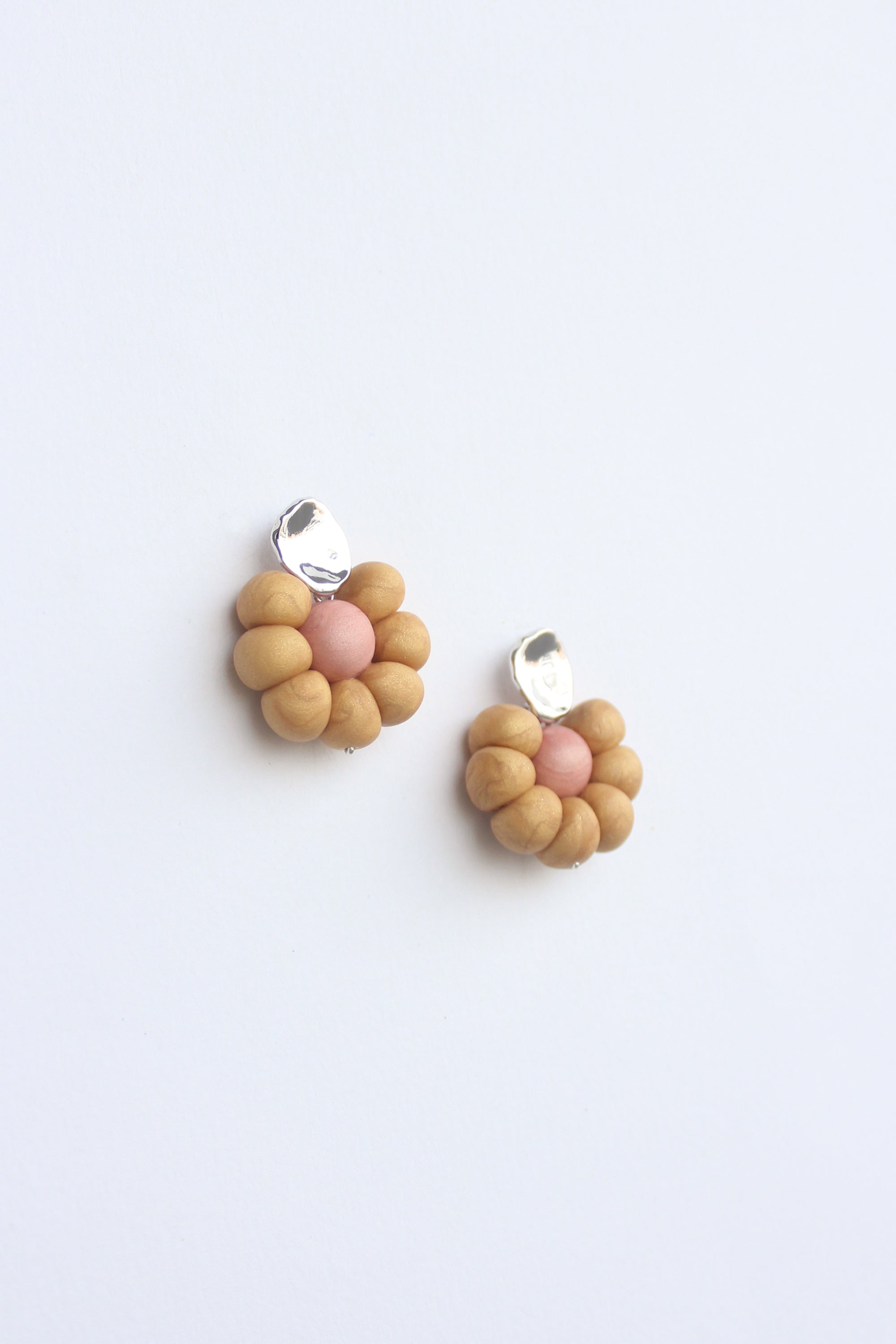 Flower Earrings in Golden Yellow & Pink