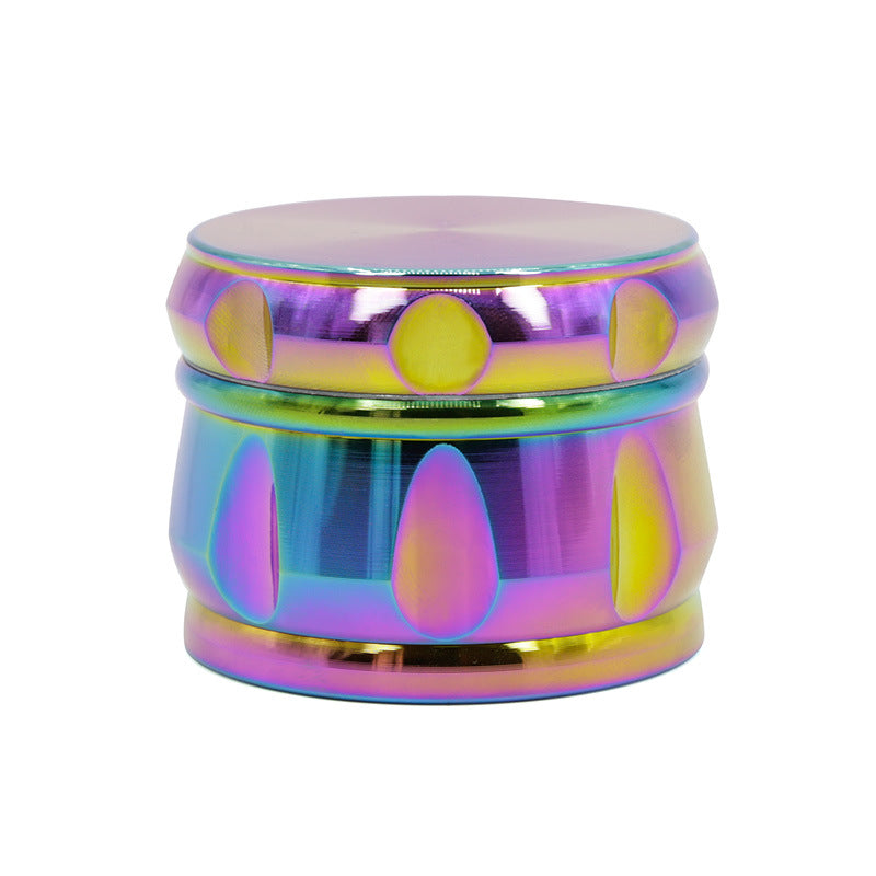 4 Layers Rainbow Chrome 63mm Diameter Zinc Alloy Herb Tobacco Weed Grinder