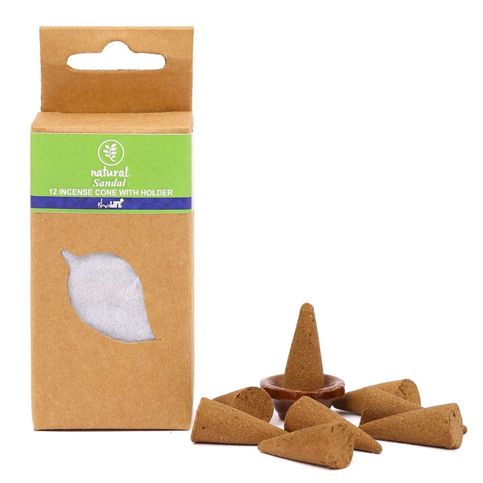 Natural Collection Sandal Cones with Holder, 12 pcs